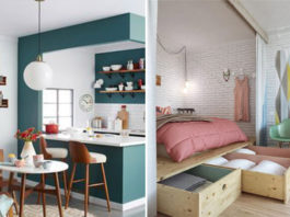 Decoração de apartamento pequeno - cozinha e quarto