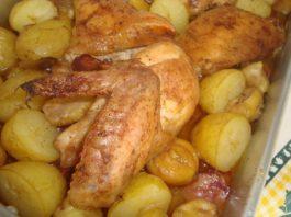 Frango com castanhas no forno