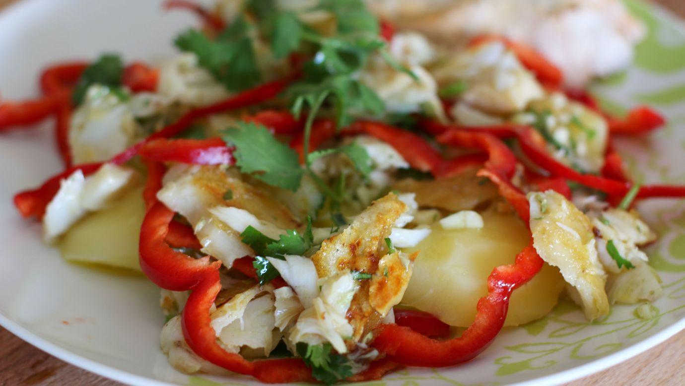 Receita de Salada bacalhau assado com pimentos