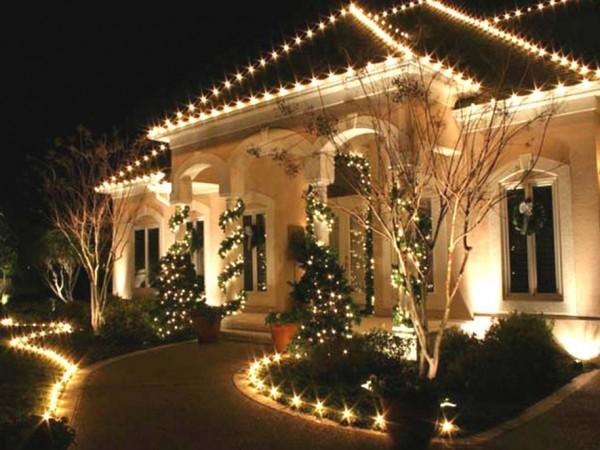 Decoração de Natal no jardim casa