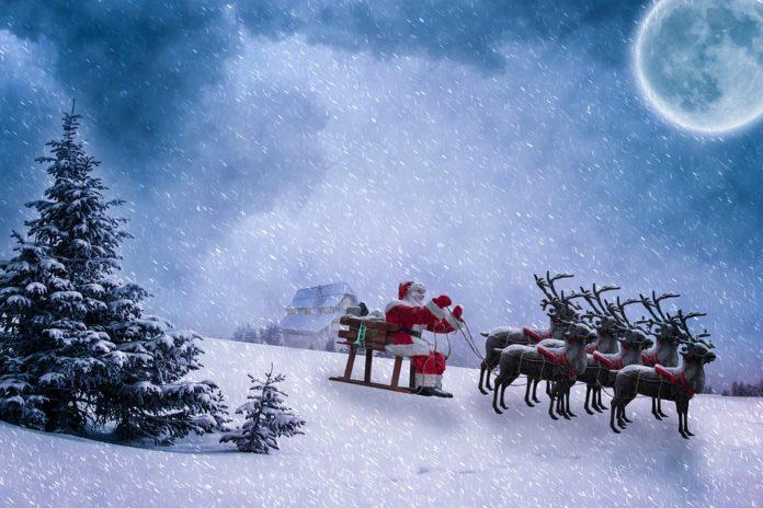 Papai Noel e as renas do Pai Natal
