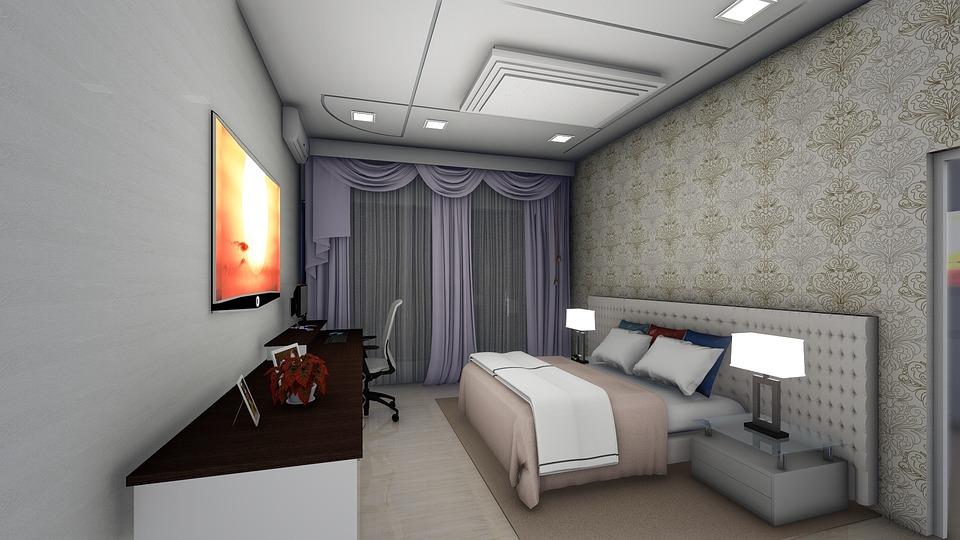 Decoração do quarto com iluminacao led