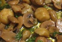 Receita de castanhas salteadas com cogumelos