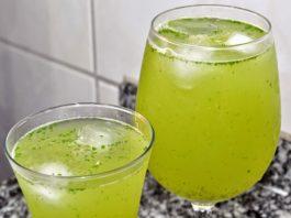 Suco energético de limão e cidreira